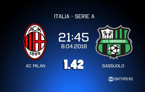 Ponturi fotbal – AC Milan – Sassuolo – Serie A – 08.04.2018