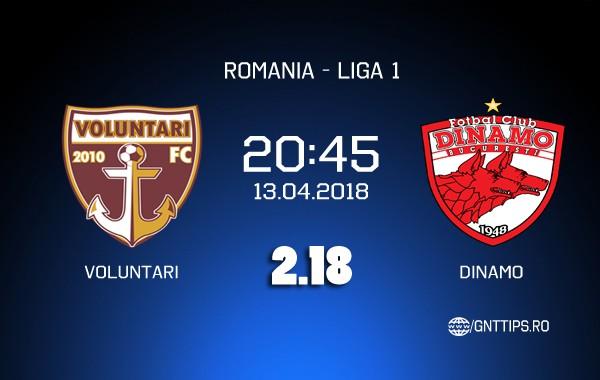 Ponturi fotbal – Voluntari – Dinamo – Liga 1 – 13.04.2018