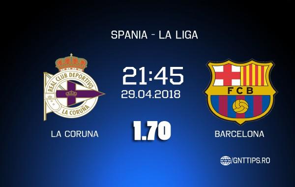 Ponturi fotbal – Deportivo la Coruna – Barcelona – La Liga – 29.04.2018