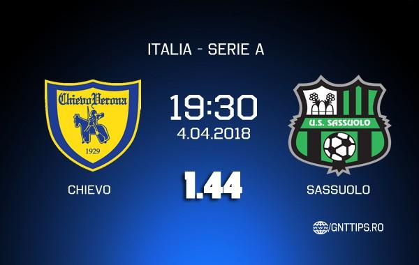 Ponturi fotbal – Chievo – Sassuolo – Serie A – 04.04.2018