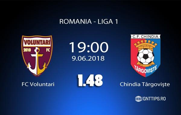 Ponturi fotbal – FC Voluntari – Chindia Târgoviște – Baraj Liga 1 – 9.06.2018