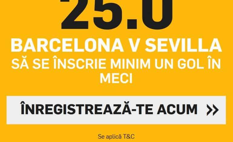 Cota 25.00 in loc de 1.03 – super valoare la Barcelona – Sevilla