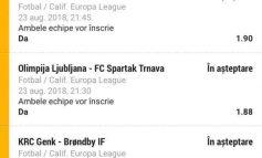 10.000 lei miza pe biletul zilei la meciurile din Europa League
