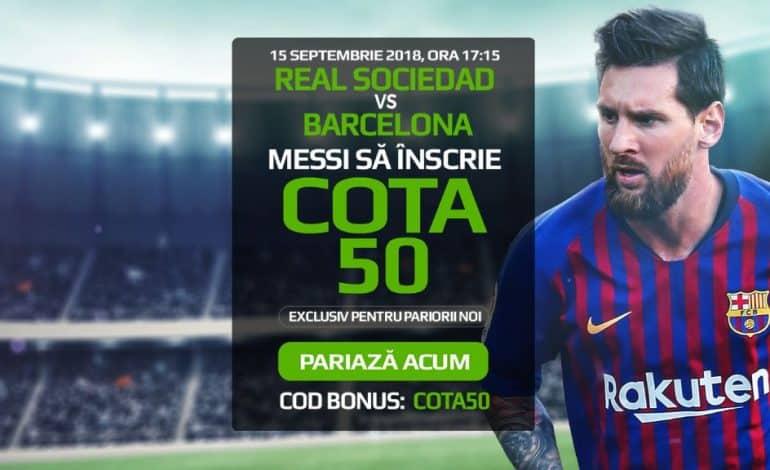 Real Sociedad vs Barcelona: Cum poti incasa 500 RON pentru un gol marcat de Messi