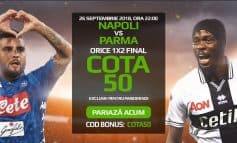 Napoli vs Parma (26 septembrie): cota 50.00 pentru orice deznodamant
