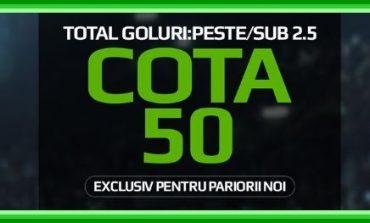 Liga I: Cota 50.00 pentru pariurile ,,peste/sub 2.5 goluri''