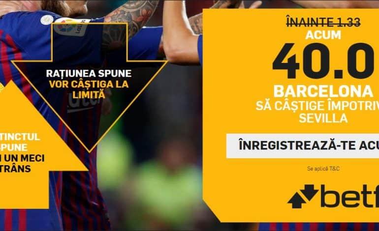 Barcelona vs. Sevilla – cota 40.00 pentru victoria catalanilor