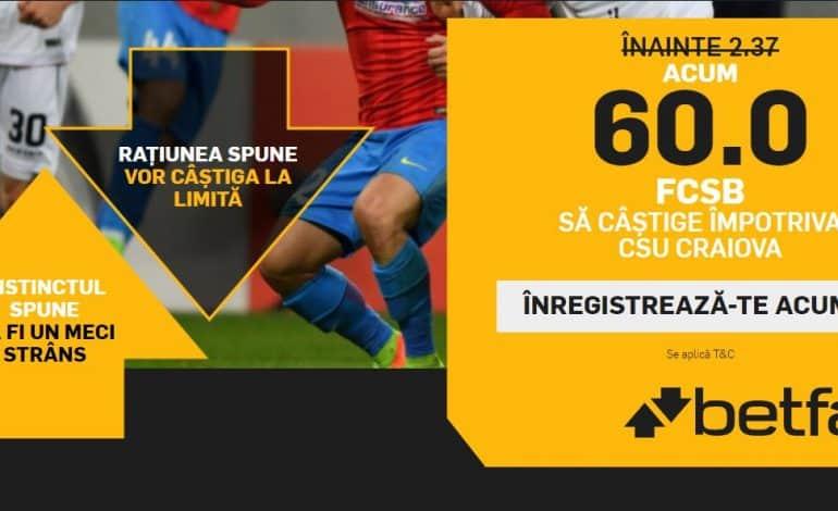 Victoria FCSB la Craiova primeste cota 60.00 la Betfair