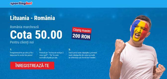 Cota 50.00 pentru un gol al Romaniei in Lituania