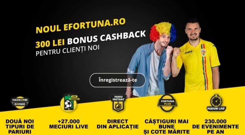 Noul bonus de bun venit la Fortuna - 300 RON cashback