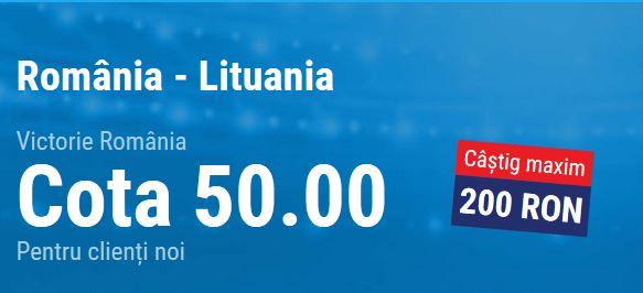 Cota 50.00 pentru Romania in partida cu Lituania