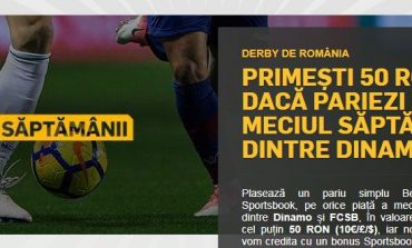Dinamo vs. FCSB: pariezi 50 de lei si primesti 50 de lei bonus