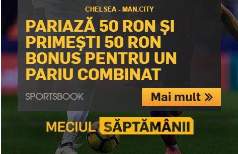 Chelsea vs. Manchester City iti aduce un bonus de 50 de ron